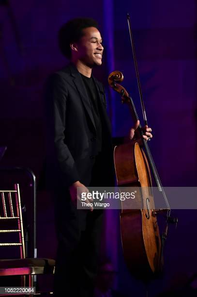 Classical cellist, performer Sheku Kanneh-Mason performs at The T.J. Martell Foundation 43rd New York Honors Gala at Cipriani 42nd Street on October...