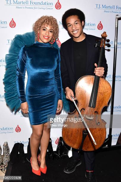 Classical cellist performer Sheku KannehMason poses for a photo backstage at The TJ Martell Foundation 43rd New York Honors Gala at Cipriani 42nd...