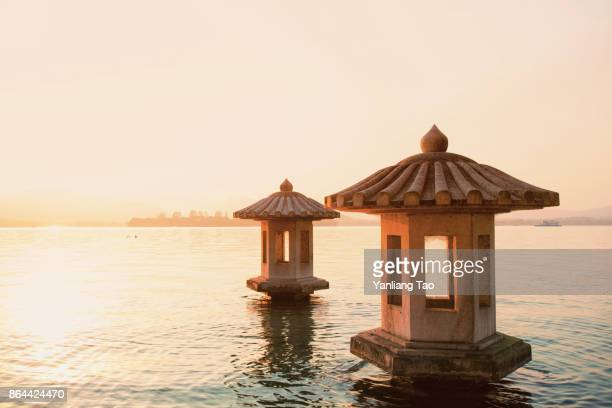Classical Chinese pavilion on water