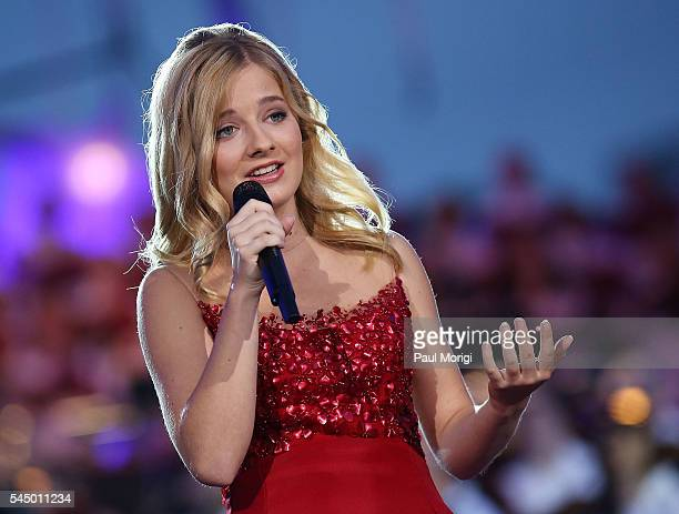 Classical crossover star Jackie Evancho performs at A Capitol Fourth concert at the US Capitol West Lawn on July 4 2016 in Washington DC