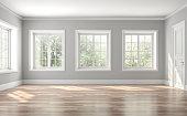 Classical empty room interior 3d render