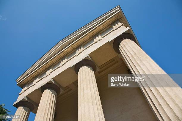 classical exterior with columns of manning hall, manning chapel, and haffenreffer museum of anthropology, brown university, providence, rhode island - brown imagens e fotografias de stock