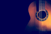 Classical Guitar on a dark background.