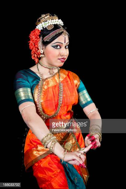 Classical Indian Kuchipudi Dancer Performing On Stage