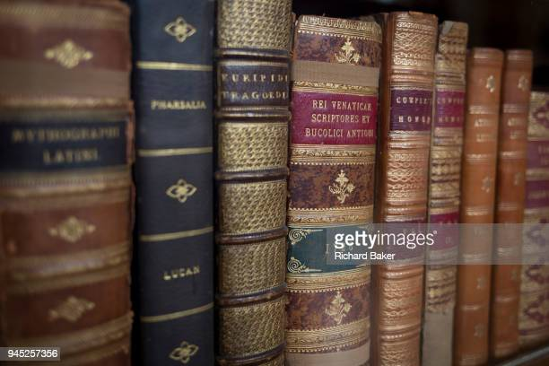 Classical literature on bookshelves in the Enlightenment Gallery of the British Museum on 11th April 2018 in London England