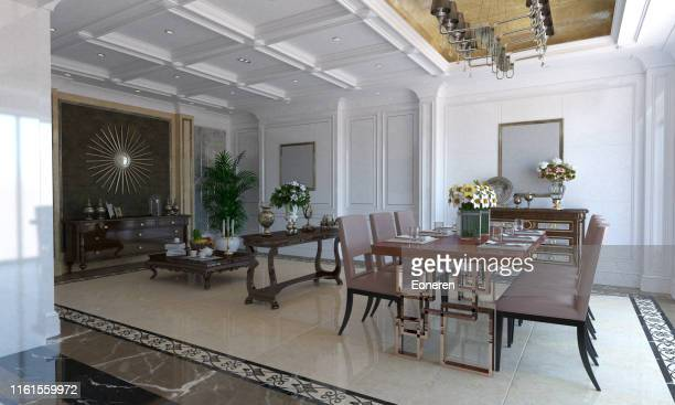 classical luxury dining room interior - classical style stock pictures, royalty-free photos & images