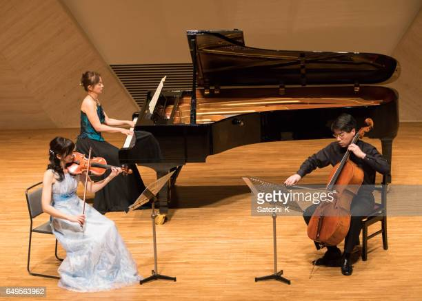 classical music concert - violin, cello, and piano - classical musician stock pictures, royalty-free photos & images