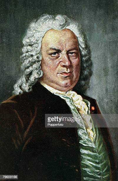 circa 1740 An illustration of German composer Johann Sebastian Bach Bach's sacred music included 200 church cantata's his orchestral music includes...