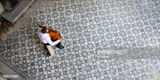 classical music player holds an online concert during the coronavirus stock photo - individual event stock pictures, royalty-free photos & images