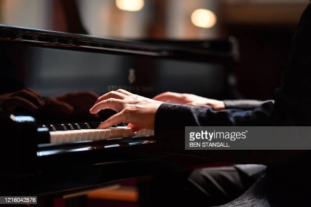 Classical pianist Stephen Hough rehearses at the Wigmore Hall in central London on May 30, 2020. - To adapt to the novel coronavirus COVID-19...
