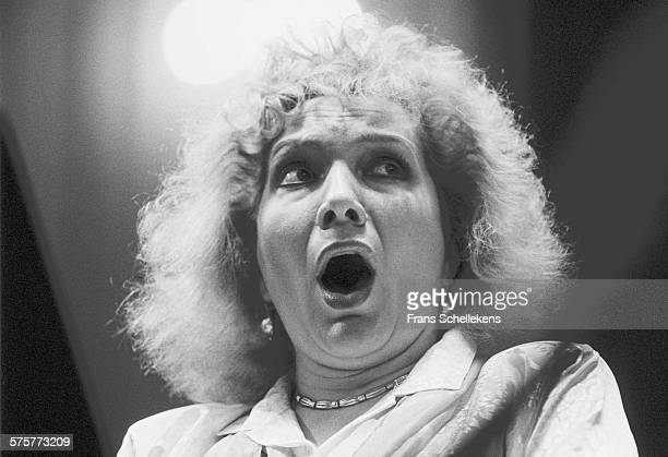 Classical Soprano singer Nelly Miricioiu performs on April 6th 1991 at the Concertgebouw in Amsterdam, Netherlands.
