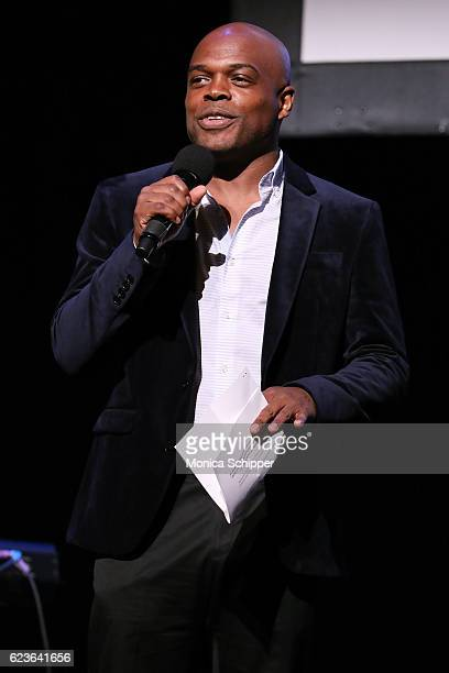 Classical Theatre of Harlem's Producing Artistic Director Ty Jones speaks on stage at 'The First Noel' Sneak Peek at The Apollo Theater on November...
