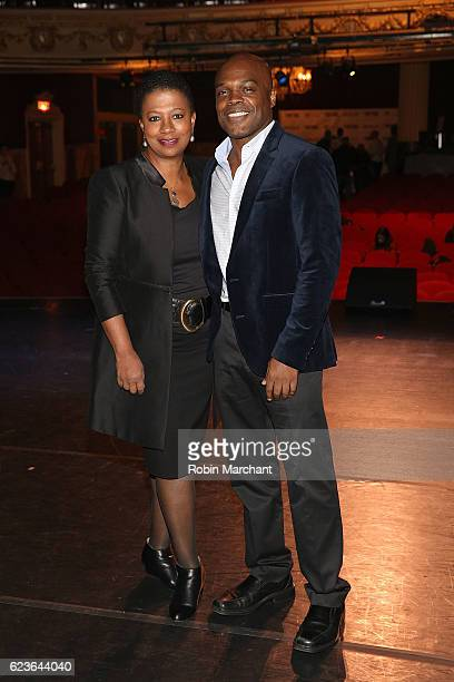 Classical theatre of Harlem's producing artistic director Ty Jones poses on stage during 'The First Noel' Sneak Peek at The Apollo Theater on...