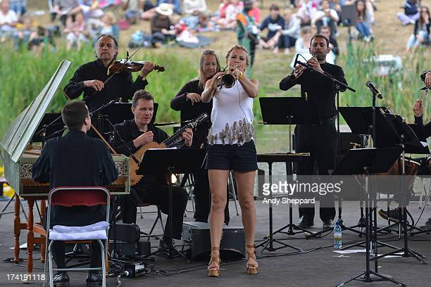 Classical trumpeter Alison Balsom performs on stage with the English Concert on Day 4 of Latitude Festival 2013 at Henham Park Estate on July 21 2013...