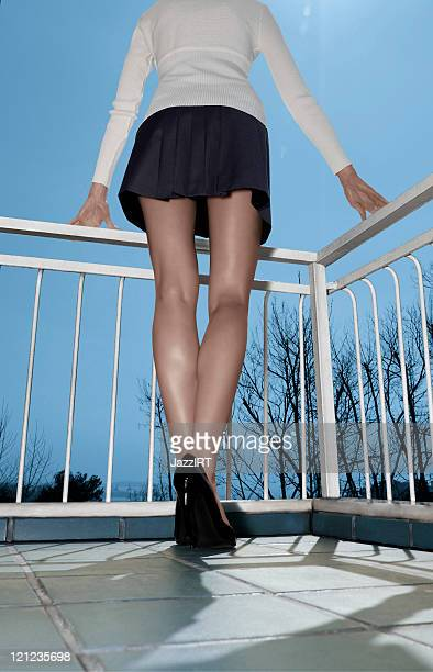 classical up-skirt image of fit lady - high heels short skirts stock pictures, royalty-free photos & images