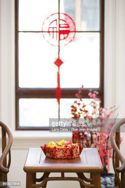 classical villa with chinese new year decoration - chinese knotting stock pictures, royalty-free photos & images