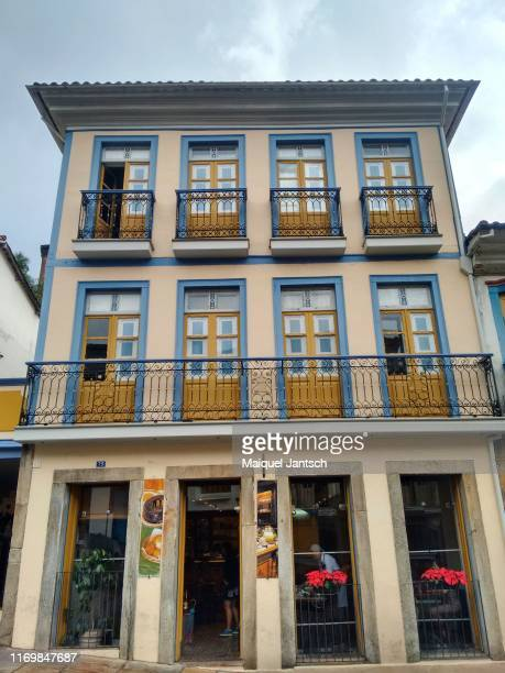 classics windows and doors of the historic city of ouro preto, minas gerais state - brazil - preto stock pictures, royalty-free photos & images
