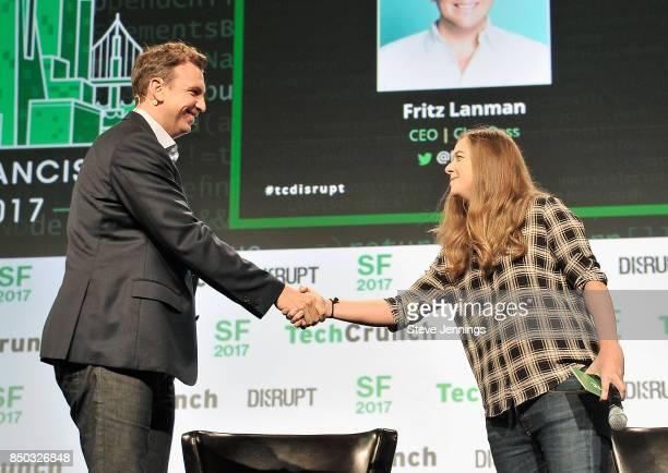 ClassPass CEO Fritz Lanman and TechCrunch moderator Jordan Crook speak onstage during TechCrunch Disrupt SF 2017 at Pier 48 on September 20 2017 in...