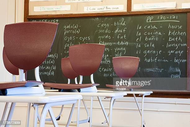 Classroom and empty seats for spanish class