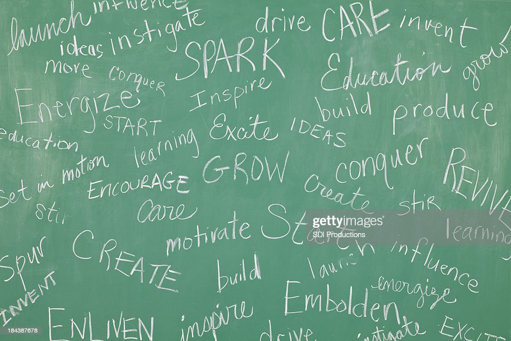 Classroom Chalkboard with motivational words all over it : Stock Photo