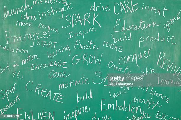classroom chalkboard with motivational words all over it - single word stock pictures, royalty-free photos & images
