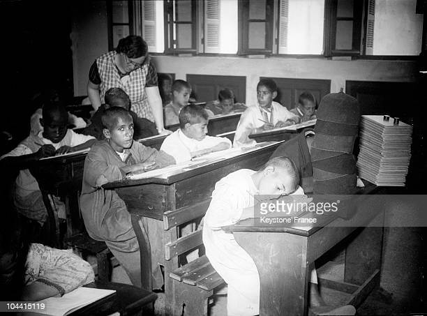 A classroom in a French school of Casablanca on October 31 1935
