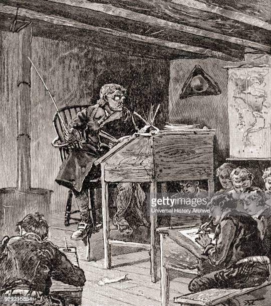 Classroom in a typical school in the 18th and 19th centuries From The History of Our Country published 1905