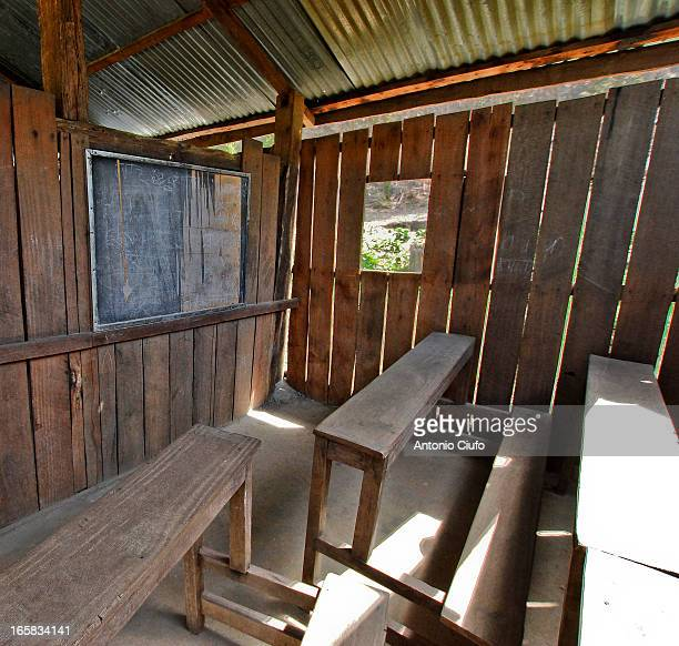 Classroom in the village of Kusum Khola located in the forest in the district of Chitwan, Nepal. This forest is an inhospitable place for men: the...