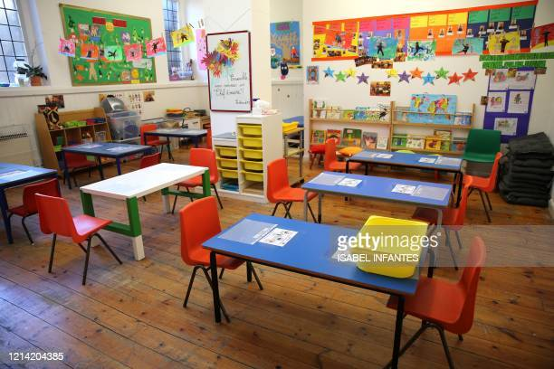 A classroom is pictured rearranged to provide a teaching environment safe from Coronavirus for pupils and teachers at La Petite Ecole Bilingue at...
