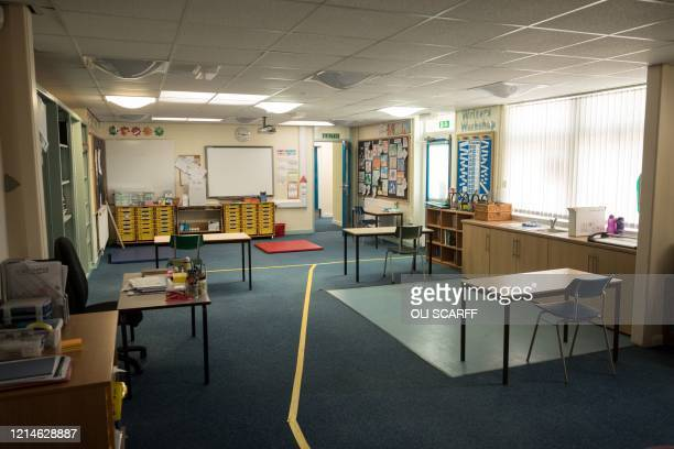 A classroom is seen which has been rearranged with seating separated by 2m to create an environment safe from Coronavirus for pupils and teachers at...