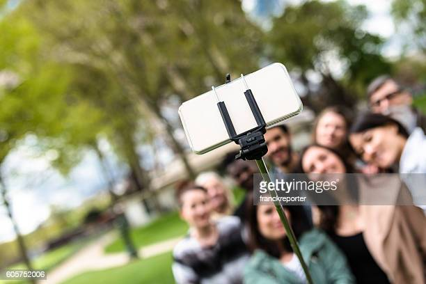 classroom on the park with the teachers take a selfie