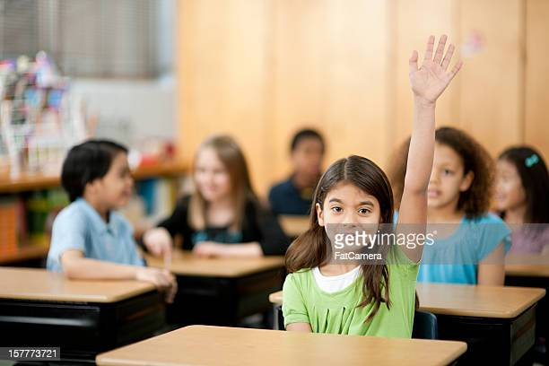 classroom - hand raised stock pictures, royalty-free photos & images
