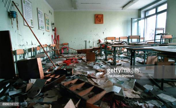A classroom remains as it was after the Chernobyl Nuclear Power Plant meltdown prior to the 10th anniversary of the nuclear disaster circa March 1996...