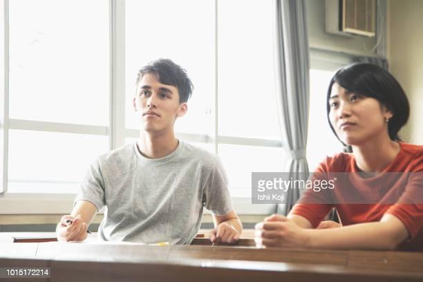 classroom scene of a japanese school - 教育関係 ストックフォトと画像