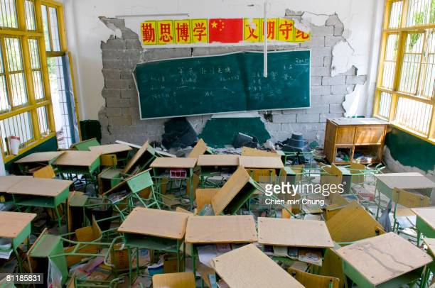 A classroom still standing May 19 2008 in Beichuan China 50000 people are estimated to have been killed in the deadliest earthquake to strike China...