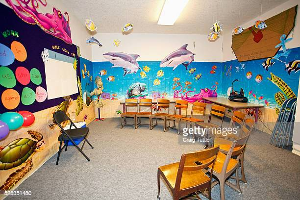 A Classroom With A Marine Life Theme And Chairs Set Up In A Semi-Circle; Portland Oregon United States Of America