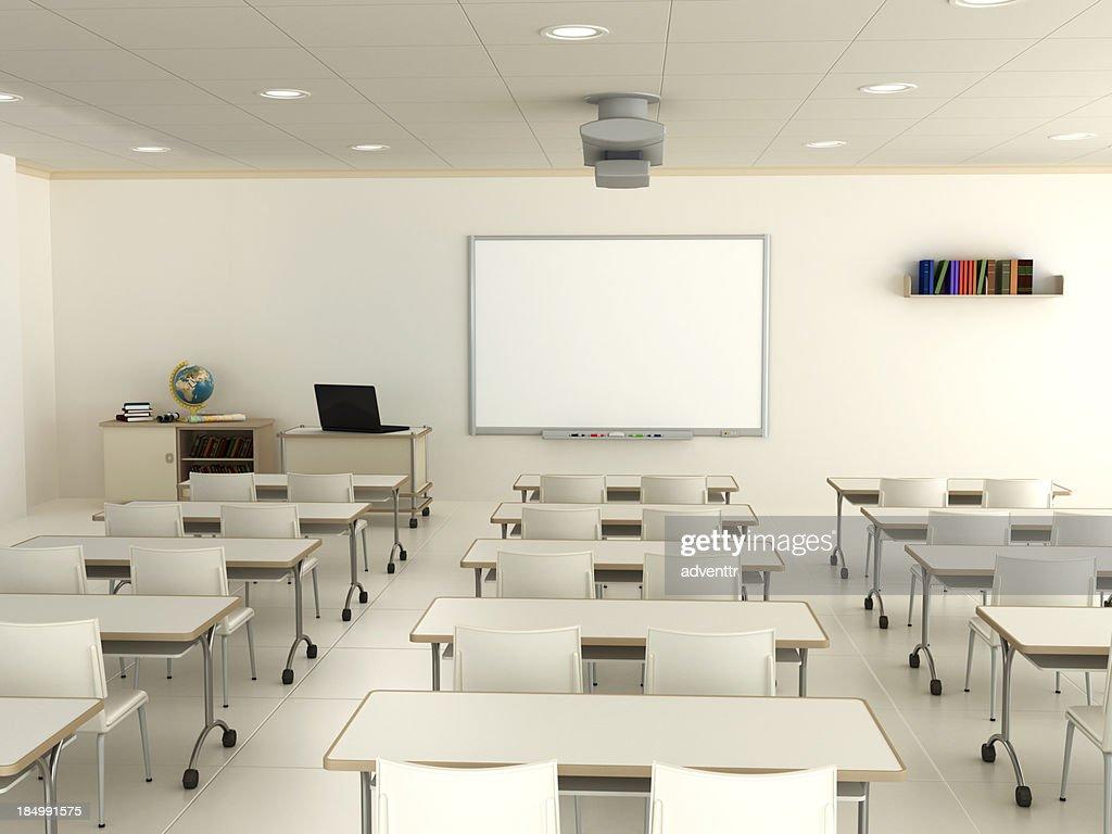 Modern Classroom Teacher ~ Classroom with interactive whiteboard stock photo getty