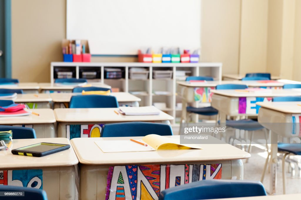 Classroom without children at the end of school named often school's out. : Stock Photo