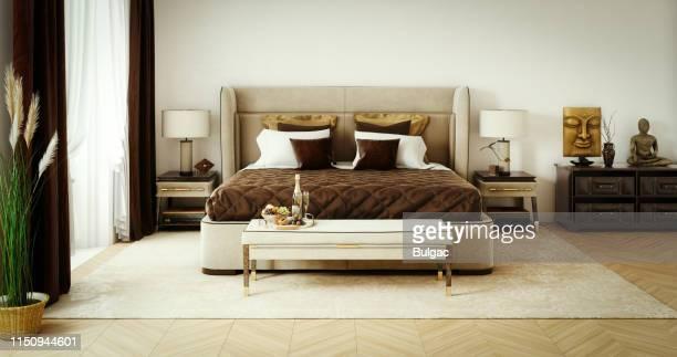 上品ベッドルームインテリア - 茶色 ストックフォトと画像