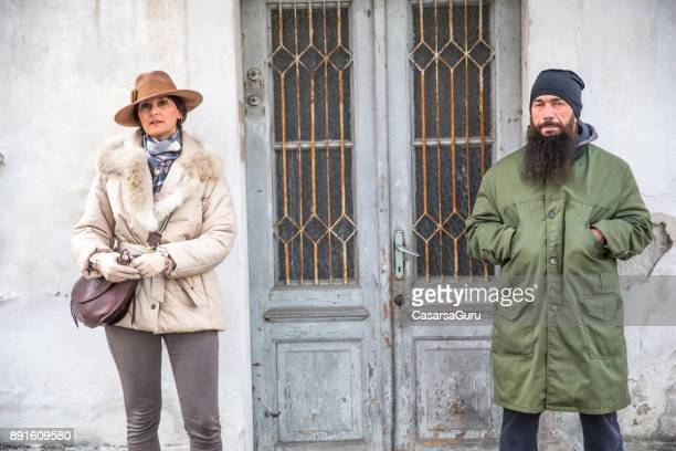 Classy Mature Womn and Street Style Adult Man Contrast