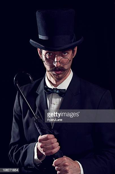classy mustache gentleman / business man with top hat - ambassador stock pictures, royalty-free photos & images
