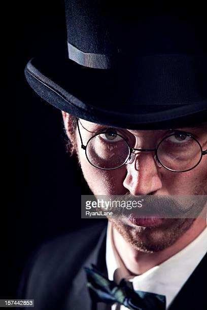 Classy Mustache Gentleman / Business Man With Top Hat