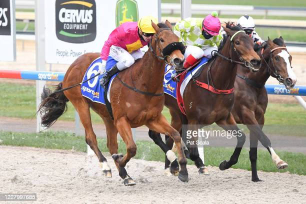 Classy Pins ridden by Harry Coffey wins the Polytrack Fillies and Mares Maiden Plate at Sportsbet-Ballarat Synthetic Racecourse on August 11, 2020 in...