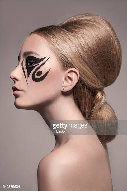 Classy Young Girl Tattoo Make-up and Hairdo