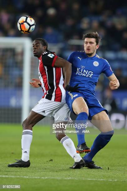 Clatyon Donaldson of Sheffield United and Harry Maguire of Leicester City during the Emirates FA Cup Fifth Round match between Leicester City and...