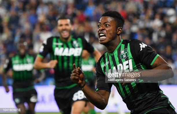 Claud Adjapong of Sassuolo celebrates after scoring the opening goal during the serie A match between SPAL and US Sassuolo at Stadio Paolo Mazza on...