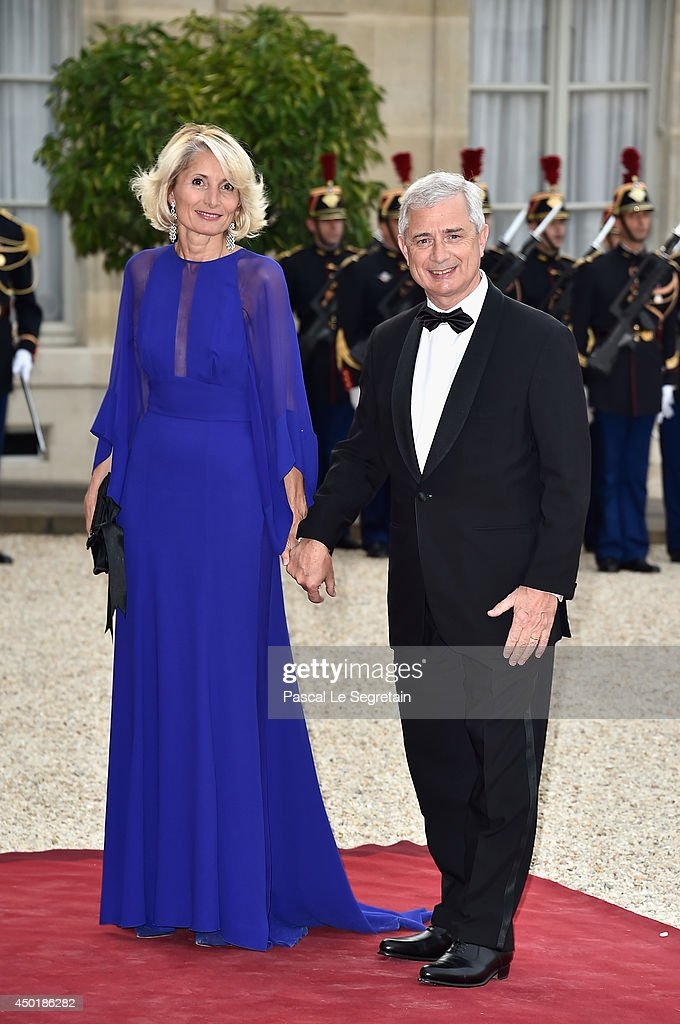 Claude Bartolone (R) and Veronique Bartolone (L) arrive at the Elysee Palace for a State dinner in honor of Queen Elizabeth II, hosted by French President Francois Hollande as part of a three days State visit of Queen Elizabeth II after the 70th Anniversary Of The D-Day on June 6, 2014 in Paris, France.