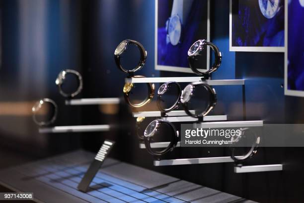 Claude Bernard watches are displayed at the BaselWolrd watch fair on March 23 2018 in Basel Switzerland The annual watch trade fair sees the very...