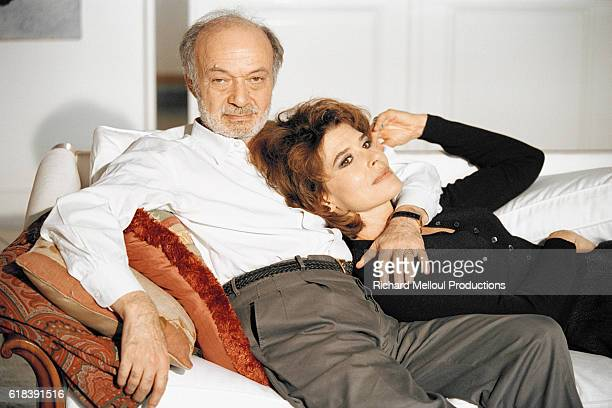 Claude Berri and Fanny Ardant on the set of La Debandade