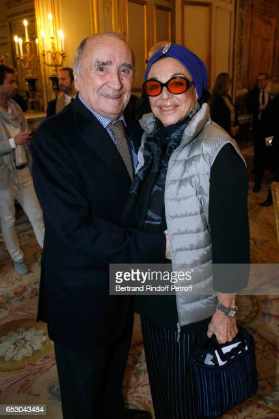Claude Brasseur and Countess Albina du Boisrouvray attend Claude Brasseur is elevated to the rank of Officier de la Legion d'Honneur at Elysee Palace...